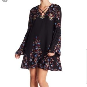 Want & Need XL Crisscros Printed Bell Dress